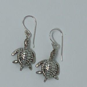 Sterling Silver Sea Turtle Dangling Earrings